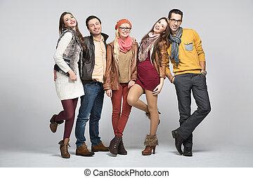 mode, firmanavnet, billede, i, kammerater