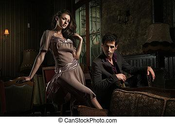 mode, firmanavnet, fotografi, i, en, holdning, ungt par