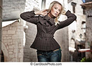 mode, firmanavnet, fotografi, i, en, ung pige