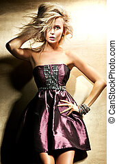 mode, firmanavnet, fotografi, i, smukke, lys, dame