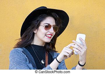 mode, flicka, med, smartphone