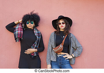 mode, flickor, på, gata