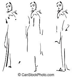 mode, flickor, sketch.