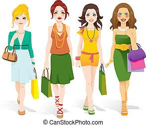 mode, flickor, vandrande