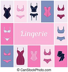 mode, fond, lingerie, conception, femme, underwear.