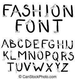 mode, font., schriftart, mit, mode, acc