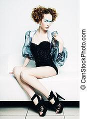 mode, foto, av, a, ung, vacker, redhead, kvinna