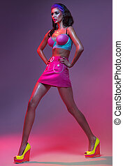 mode, foto, av, dam, tröttsam, färgrik, beklädnad