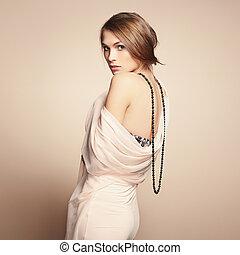 mode, foto, av, ung, vacker kvinna