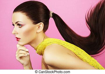 mode, foto, av, vacker kvinna, med, hästsvans