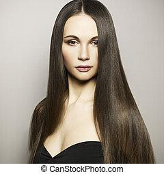 mode, foto, av, vacker kvinna, med, magnifik, hår