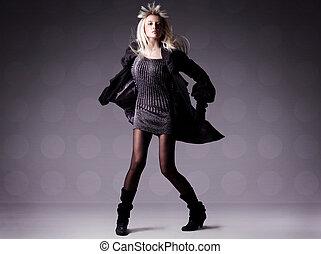 mode, foto, van, een, mooi, meisje