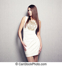 mode, foto, van, jonge, sensueel, vrouw, in, beige, jurkje