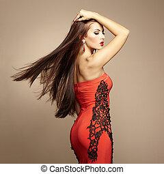 mode, foto, von, junger, prächtig, frau, in, rotes kleid