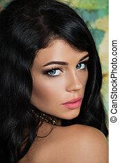 mode, fotografi, i, smukke, ung pige, hos, curly, hair., closeup, studio, portræt