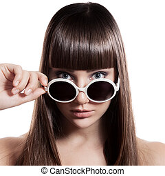 mode, frau, mit, sunglasses., freigestellt