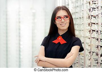 mode, frau, tragende brillen, in, medizin, optisch, laden