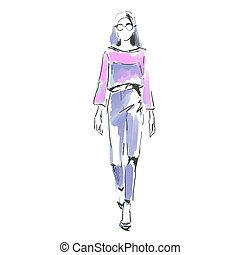 mode, frei, hand, modisch, aquarell, stehende , catwalk., modelle, illustration.