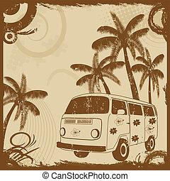 mode, gamle, håndflader, vinhøst, flyer, bus