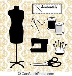 mode, gold, damast, nähen, ihm, sich, schaufensterpuppen, accessoirs, hintergrund, modell
