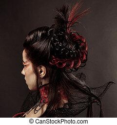 mode, gotischer stil, modell, m�dchen, porträt