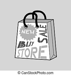 mode, grijze , winkel, zak