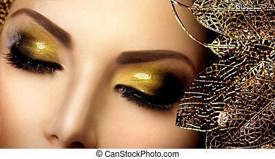 mode, guld, makeup., glamour, ögonskuggor, helgdag, ...