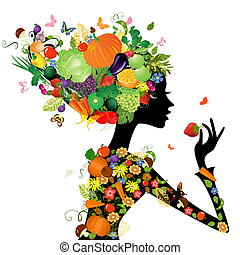 mode, haar, ontwerp, vruchten, meisje, jouw