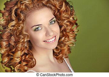 mode, hairstyle., bouclé, lisser, arrière-plan., vert, séduisant, hair., portrait, extensions, fille souriante, lustré
