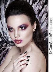 mode, hairstyle., makeup., orange, portrait, modèle, girl, rouges