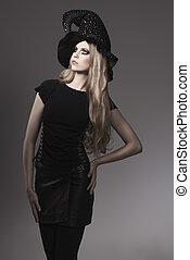 mode, halloween, kvinna