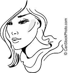 mode, hand-drawn, modèle, élégant, graphique, illustration., design., beau
