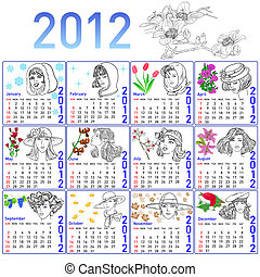 mode, hand-drawn, model., vector., år, kalender, 2012