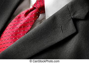 mode, hemd, bedrijfsslijtage, kostuum, vastknopen, wit rood, formeel