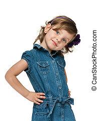 mode, het glimlachen van weinig meisje