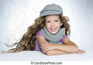 mode, hiver, casquette, cheveux, écharpe, girl, laine, vent,...