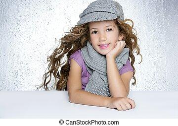 mode, hiver, casquette, cheveux, écharpe, girl, laine, vent, litle