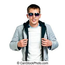 mode, homme, dans, lunettes soleil