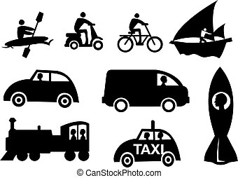 mode, icône, vecteur, ensemble, transport
