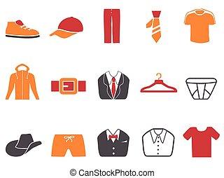 mode, icônes, couleur, série, hommes, ensemble, orange, rouges