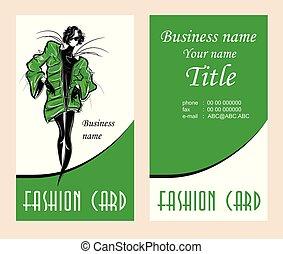 mode, illustration affaires, vecteur, cartes, woman.