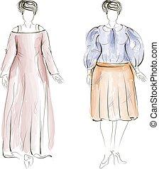 mode, illustration., hand-drawn, vektor, plus, model., størrelse