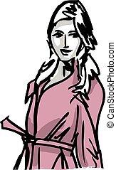 mode, illustration, kvinna