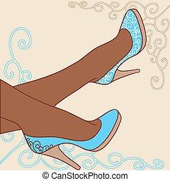 mode, illustration., kvinnlig, vektor, sko, bakgrund