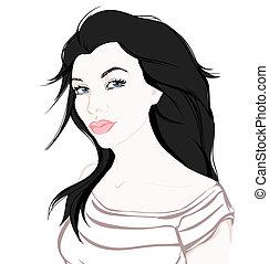 mode, illustration, main, fond, dessiné, girl, blanc
