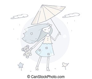 mode, illustration., simple, moderne, caractère, dessin animé, vecteur, umbrella., girl, design.