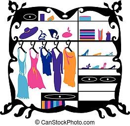 mode, inköp, illustration., isolerat, garderob, galleria, vektor, lyxvara, kvinnlig, inre, silhuett, kläder, skor