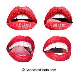 mode, isolé, lèvres, girl, mouth., sensuelles, différent, ensemble, jeune, arrière-plan., produits de beauté, blanc, séduisant, rouges, femme, bouche, émotions, sexy, lipstick., lips., lécher, girl, langue