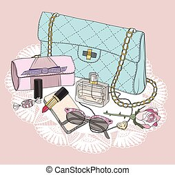 mode, jewelery, essentials., skor, smink, solglasögon, flowers., bakgrund, parfym, väska
