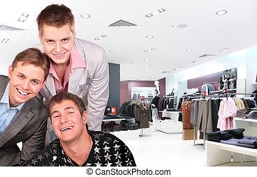 mode, jongens, bovenleer, de winkel van kleren